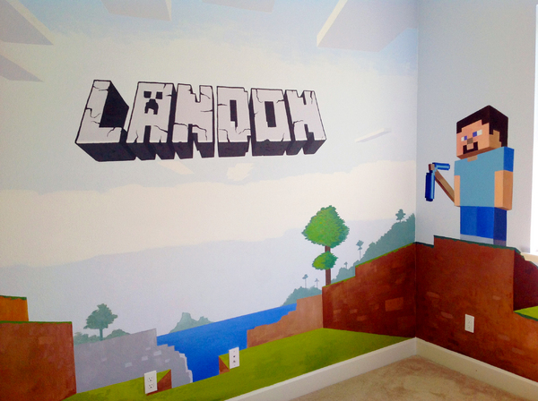 LANDON'S MINECRAFT ROOM : themed rooms : children's murals, landscape murals | Scott Willis Murals | Bay Area | San Francisco | San Jose | Oakland  | Peninsula
