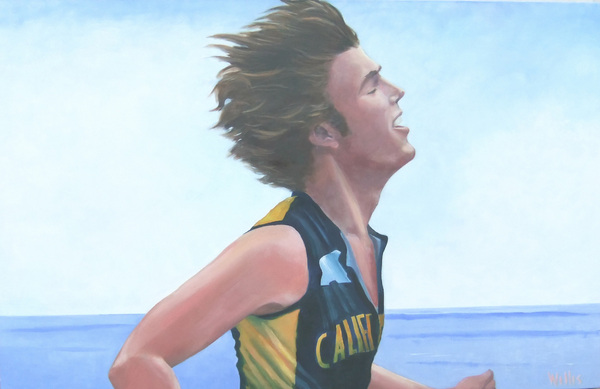 Cal triathlete, 30x48 in : canvases : children's murals, landscape murals | Scott Willis Murals | Bay Area | San Francisco | San Jose | Oakland  | Peninsula